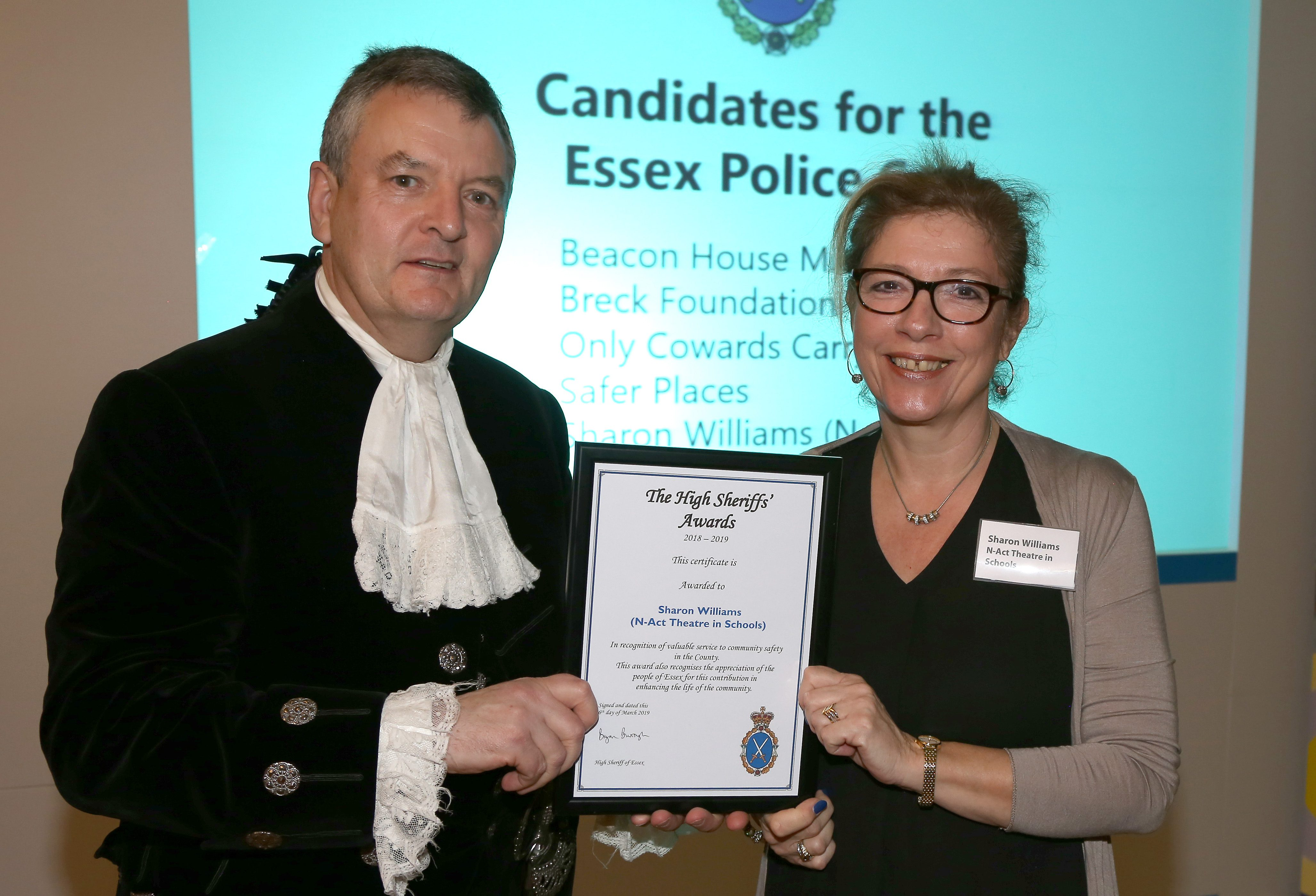 Receiving a High Sheriff of Essex Award 2019 for our work.